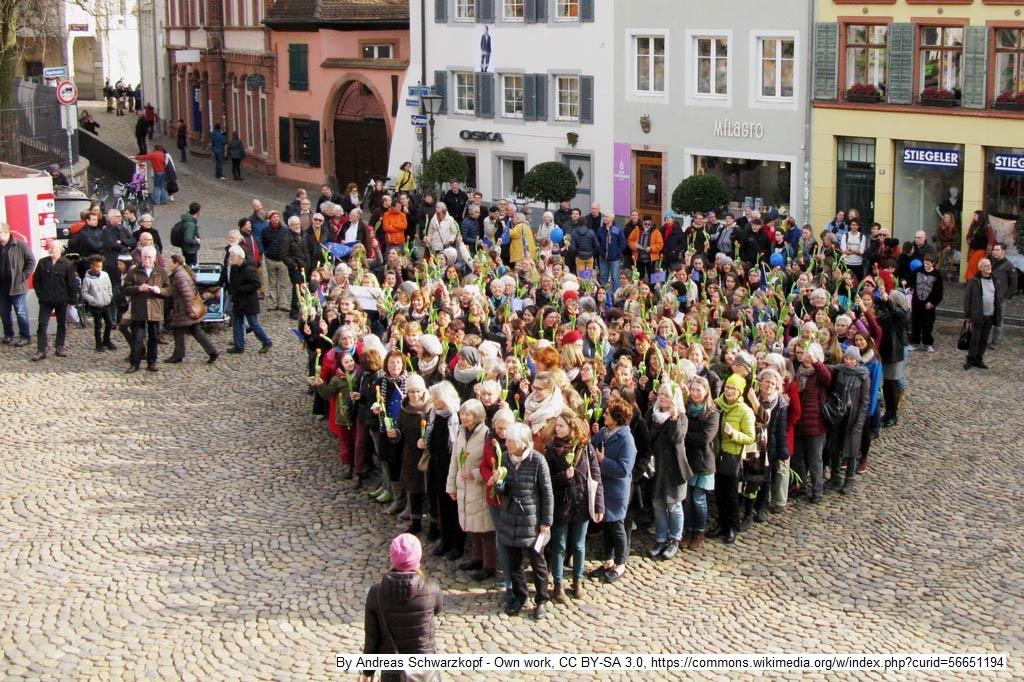 Pro-Europa-Demonstranten bilden ein Herz auf dem Augustinerplatz in Freiburg. In der Hand tragen sie eine Tulpe – als Signal an die Niederlande.