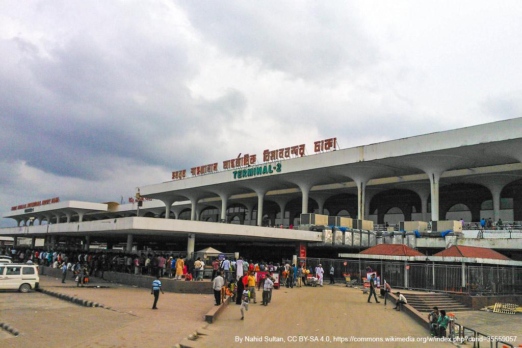 Der Flughafen Shahjalal International Airport, Dhaka, in Schrägansicht von vorne