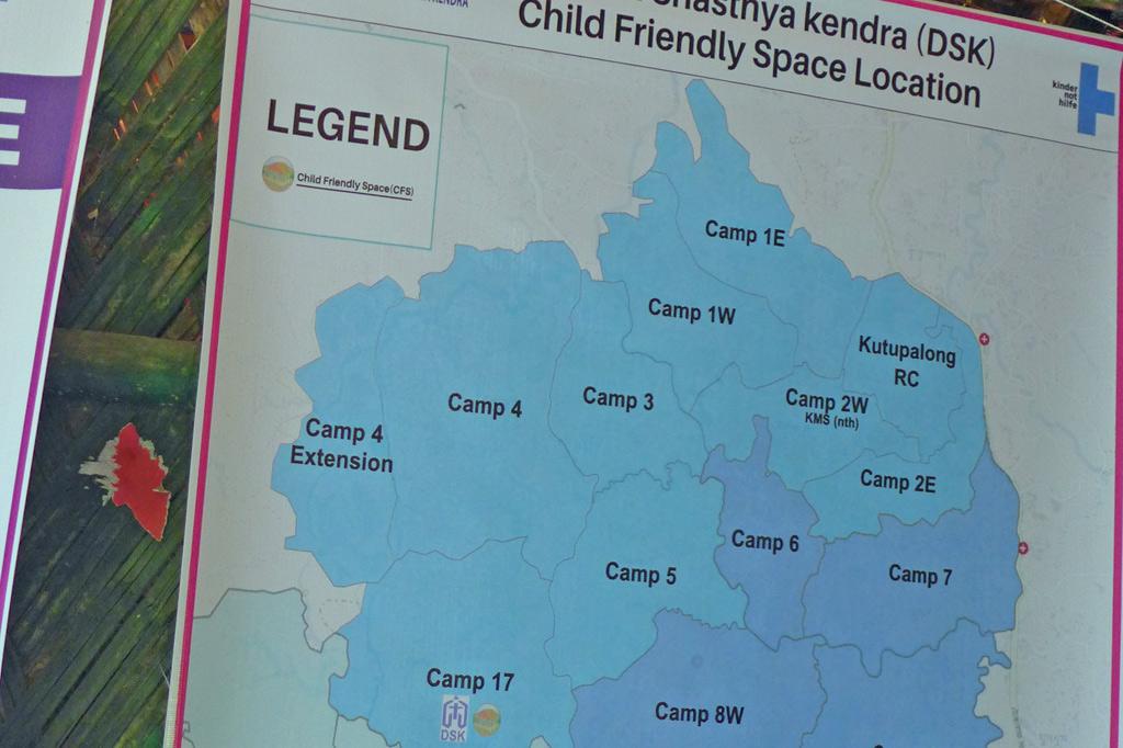 Plan des Rohingya-Lagers mit eingezeichneten Kinderschutzzentren