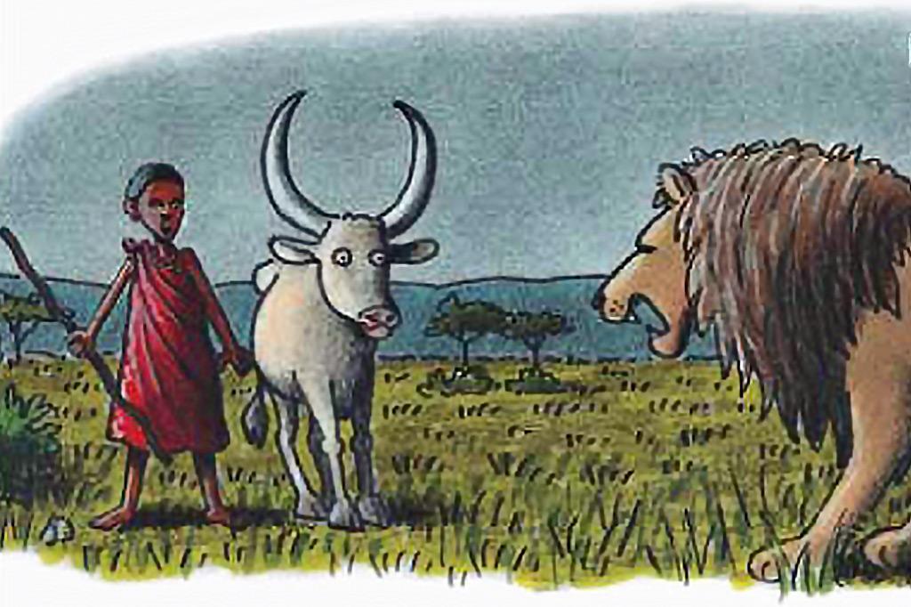 Das Märchen vom Löwen Simba und dem Jungen Dondo als Bundstiftzeichnung