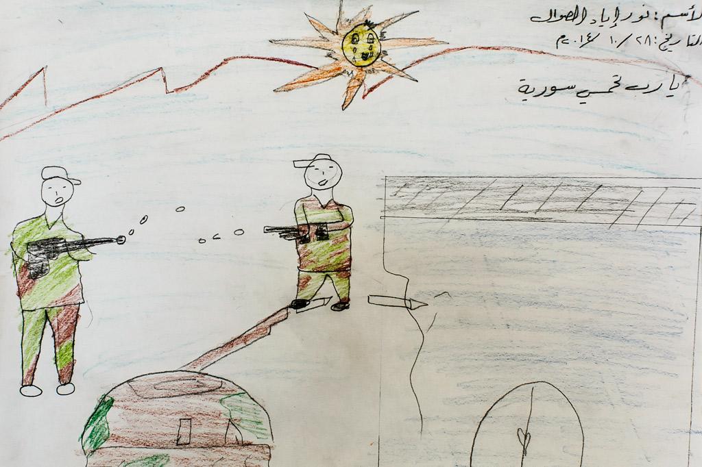 Kinderzeichnung vom Krieg in Syrien mit zwei Soldaten und einem Panzer